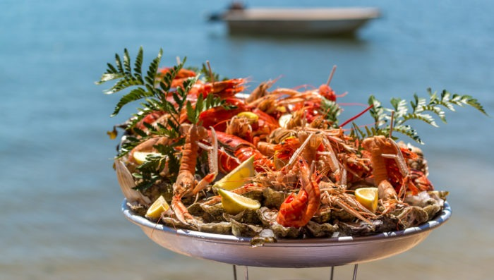 Cap Ferret (France), seafood tray at the edge of the Arcachon bay