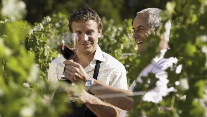 Two men on Wine Tour in a Bordeaux Vineyard