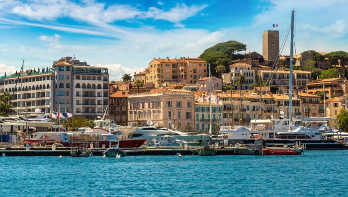 yatch and sea in Cannes, France