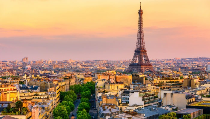 Paris view with sunset