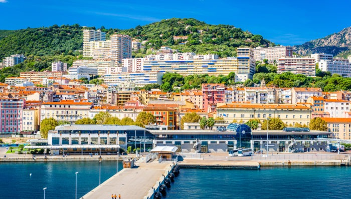 Ajaccio's Beach and city in Corsica