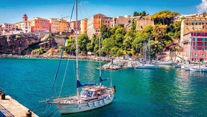Boat in the beach of Bastia, France