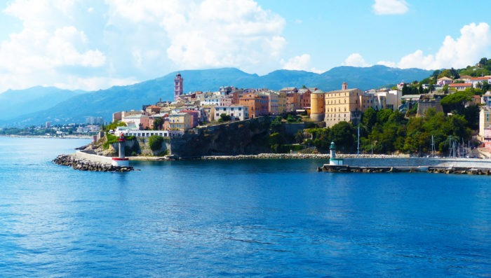 Bastia beach and town in Corsica
