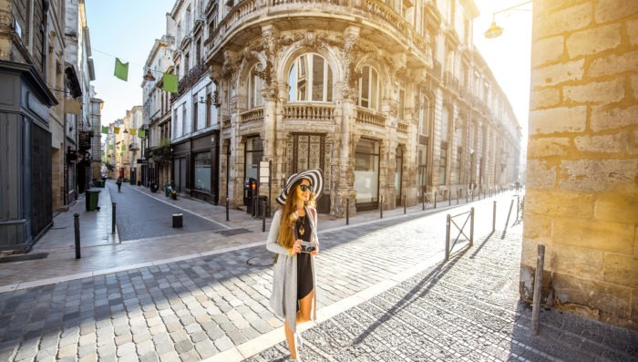 girl traveling in bordeaux, france