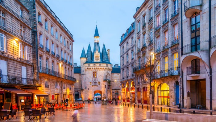 bordeaux at night with lights
