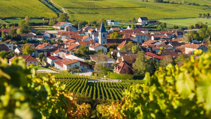 ville champagnein france with vineyards