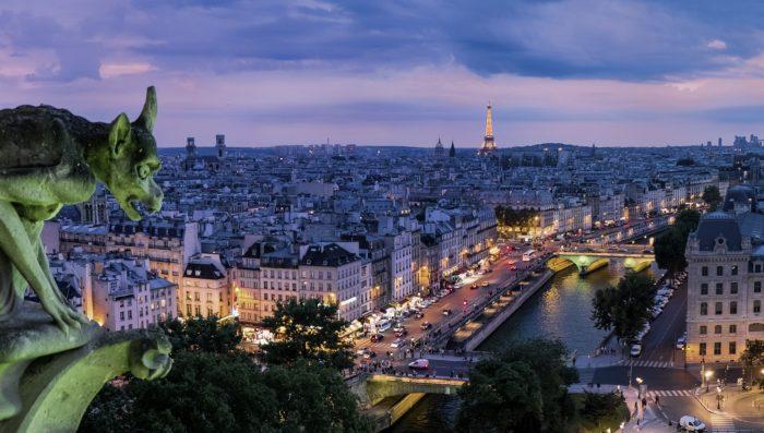 view of Paris at night