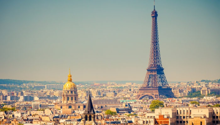 Paris and the eiffel tower at day