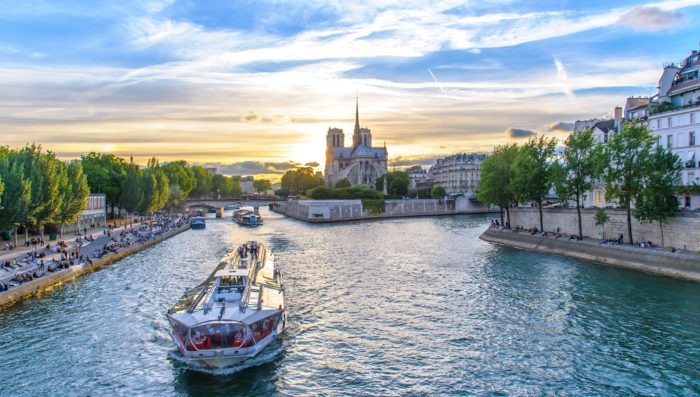Cruise at the river seine in Paris