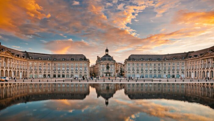bordeaux with a sunset