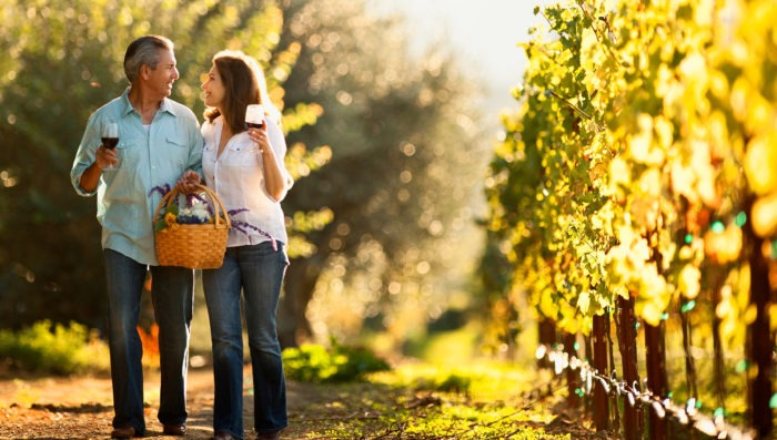 romantic couple in vineyards, france