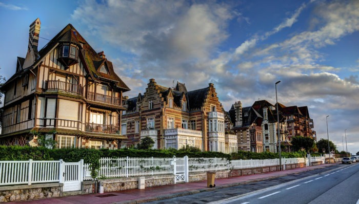 Deauville street view and houses in France