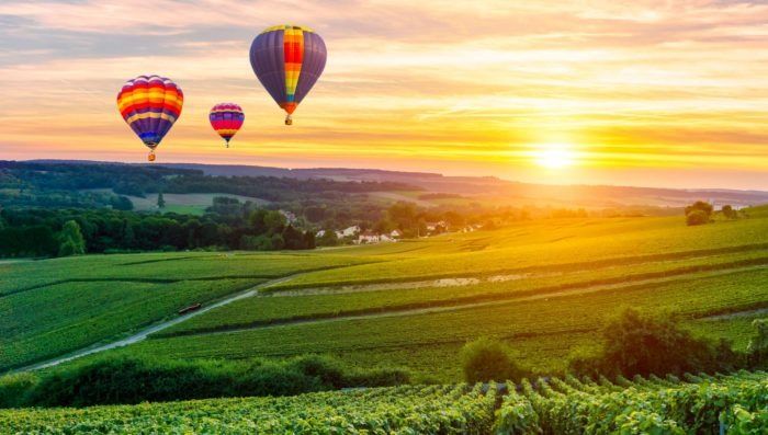 hot air balloon ride over champagne vineyards