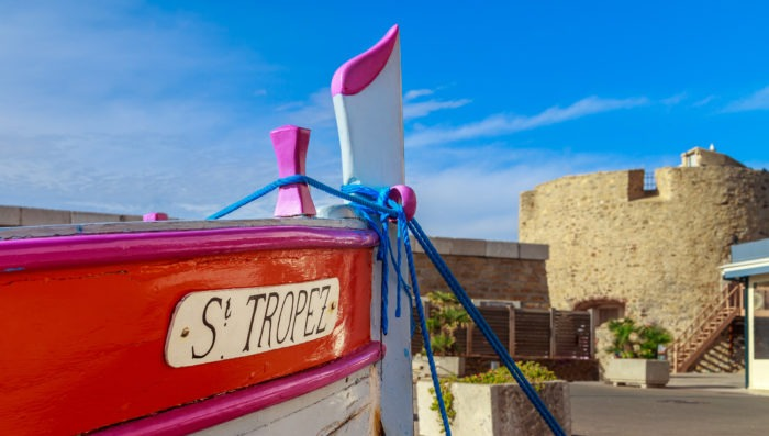 boat docked in st tropez harbor mediterranean sea