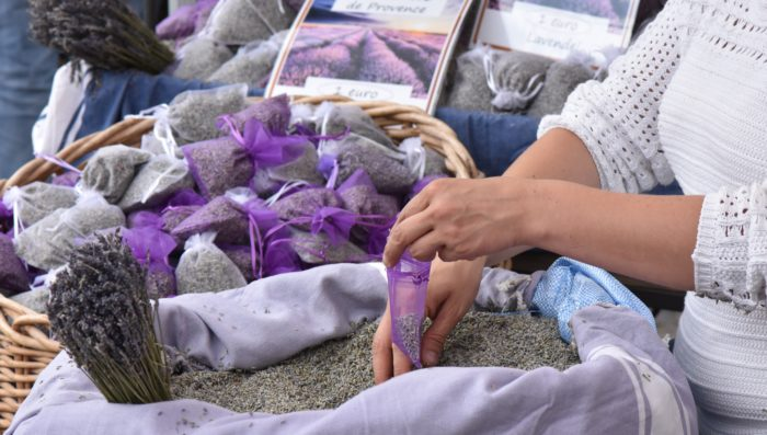 shopping for lavender at market