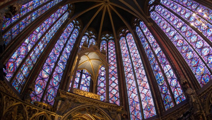 stained glass windows. interior of sainte-chapelle in paris.